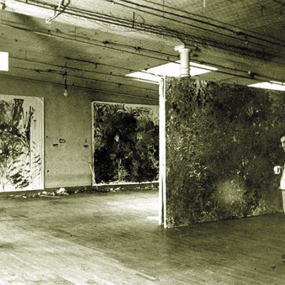 Resnick with three paintings